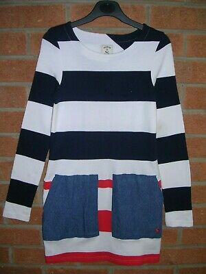 JOULES Girls Blue Stripe Cotton Long Sleeve T-Shirt Dress Age 11-12