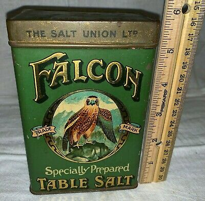 Antique Falcon Table Salt Incredible Bird Country Store Spice Tin Litho Can Old