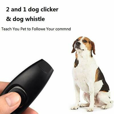 New 2 in 1 Dog Pet Puppy Cat Training Clicker & Whistle Click Trainer Obedience