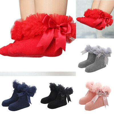 Ruffle Ankle Baby Girls Sock Frilly Kids Trim Princess Bowknot Infant Lace Socks