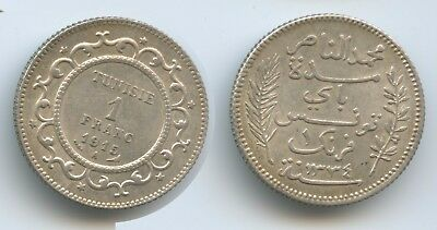 G11529 - Tunisia 1 Franc 1915-AH1334 KM#238 XF+ Silver French Protectorate