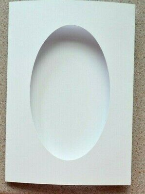 5 Double Fold White Card Blanks 210 x 148mm with 90 x 153mm OVAL Aperture NEW