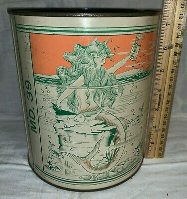 Antique Chas Neubert Baltimore Md Oyster Tin Litho 1Gal Can Mermaid Seafood Fish