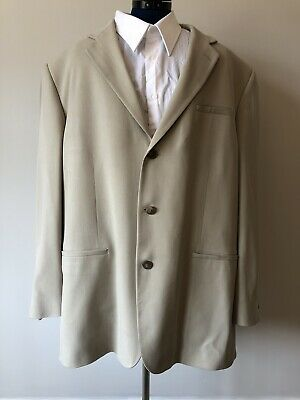 Geoffrey Beene Tan 100% Silk Men's Sport Coat  Blazer Jacket, 48L