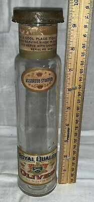 Antique Royal Quality Olives Country Store Jar Swanton Vt Vintage Grocery Food