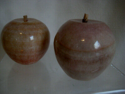 Alabaster marble Fruit Lot vintage 2 APPLES Italy brown pink