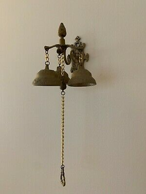 Vintage Hanging Wall-Mounted Shopkeepers Brass Door Bell Knocker 3 Bells & Chain
