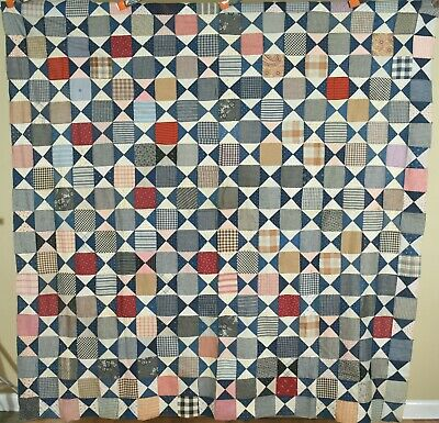 GORGEOUS Vintage Turn of the Century Hourglass Antique Quilt Top ~MINT!