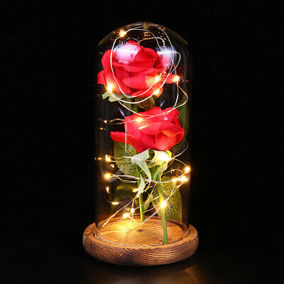 Beauty And The Beast Enchanted LED Red Rose Glass Dome Lighted Home Decor 8inch
