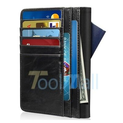 2019 RFID Blocking PU Leather 9 Slot Passport Card ID Holder Wallet Cover