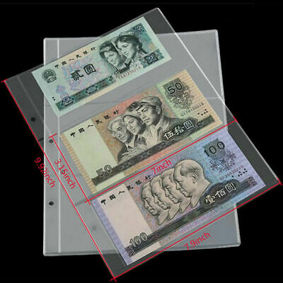 10pcs Paper Money Banknote Holders Album 3 Pockets Pages Sleeves Storage Note