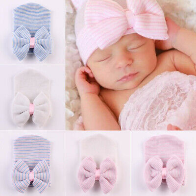Baby Girls Infant Colorful Striped Soft Hat with Bow Cap Newborn Beanie Cu AIN