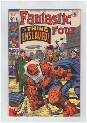 Fantastic Four # 91  The Thing Enslaved !  grade 8.5 scarce book !