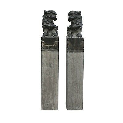 Chinese Pair Black Gray Stone Fengshui Foo Dogs Tall Slim Pole Statues cs5364
