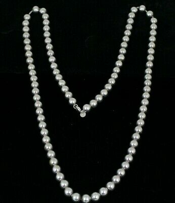 "Tiffany & Co. Sterling Silver Hardwear 10mm Ball Bead 36"" Long Necklace w/ Box"