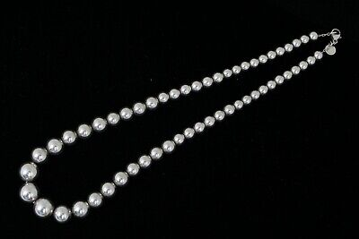 "Beautiful Tiffany & Co. Sterling Silver Graduated Bead Ball Necklace 16"" Choker"