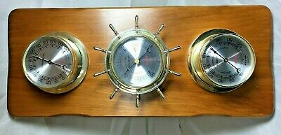 Vintage Wood Sunbeam Weather Station, Temp, Barometer Humidity Gauge