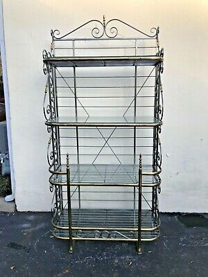 1920's Antique Victorian style French bakers rack Iron Brass Glass