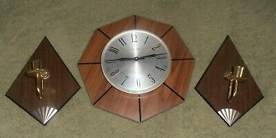 Mid Century Modern Verichron Battery Operated Wall Clock and candle holders