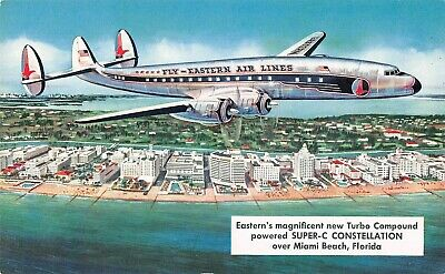 Vintage 1950s Fly Eastern Air Lines Super-C Constellation Airplane A01