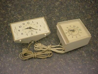 Lot of 2 Alarm Clocks Westclox Magic Touch, Ingraham Lighted Dial For Parts D353