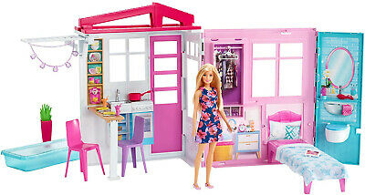 Barbie Doll And Dollhouse, Portable 1-Story Playset With Pool