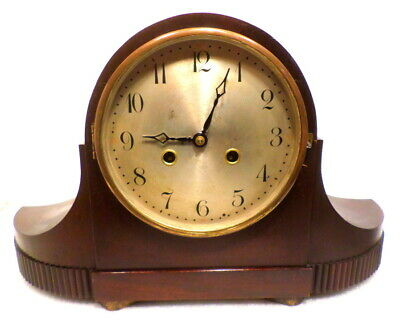 Unusual Curved Front European 1910 Mantle Clock with Hour/Half Hour Strike