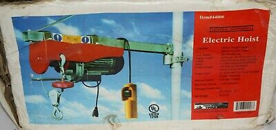 Electric Hoist 880 pound Item 44006 Central Machinery Open Box  new condition