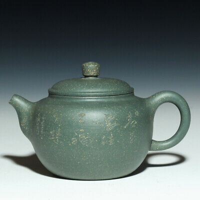 Chinese yixing tea pot marked handmade carved blessing pot real zisha green clan