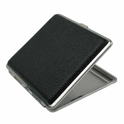 Stainless Steel Cigarette Case Cigar Tobacco Pocket Leather Pouch Holder Box