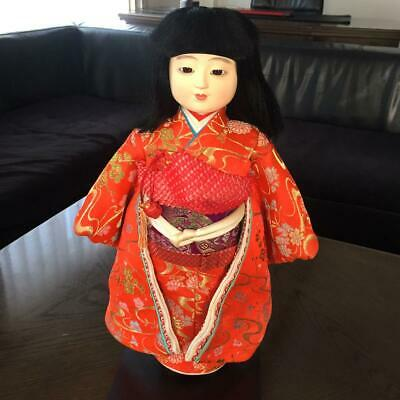 Vintage Japanese ichimatsu doll 16 inches Girl in red kimono from japan m