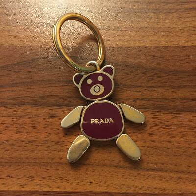 PRADA Bear Gold / Brown Key Ring Charm Key Chain Metal Used