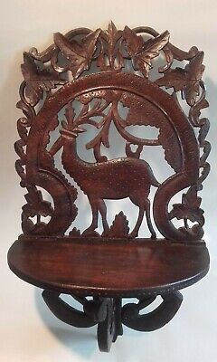 Antique Black Forest HandCarved Wood Wall Bracket with Stag.