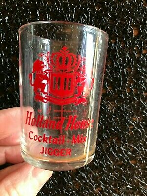 HOLLAND HOUSE COCKTAIL MIX JIGGER SHOT GLASS ~ HOLDS 1.5 oz. ADVERTISING BARWARE