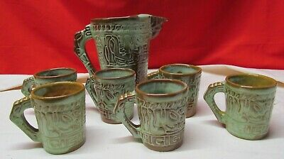 FRANKOMA POTTERY.. WOODLAND MOSS MAYAN AZTEC COFFEE CUP 7C /& SAUCERS 7E 2
