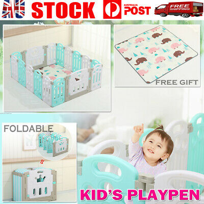 16 Sided Panel Baby Playpen Safety Gates Interactive Kids Child Toddler Barrier