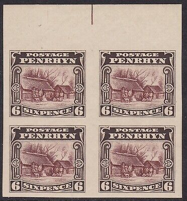 Penrhyn 1920 Pictorial 6D Red Brown & Sepia, Imperf Proof Block Of Four With Gum