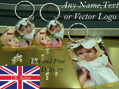 Photo Keyring personalised with any photo text logo cute acrylic