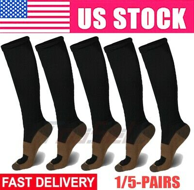 3 Pairs Fitness Energy Knee High Compression Socks Pain Relief SM L/XL XXL US