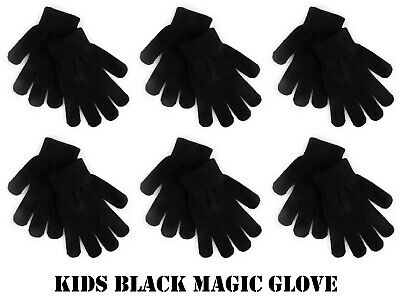 1-6 Pairs Kids Childrens Thermal Magic Winter Gloves Black Stretch Boys Girls