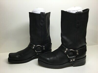 Vtg Mens Double H Square Toe Harness Motorcycle Black Boots Size 8 D