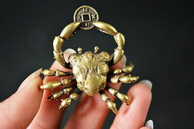 Collection Chinese Old Brass Copper *Crab* Lucky Statue YR26