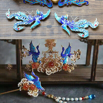 Chinese Style Cloisonne Phoenix Hairpin Women Bride Hair Clip Headband Jewelry