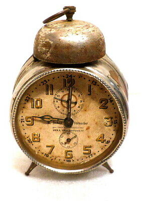 Early European Alarm Clock With Bell On Top--Signed on Dial By Maker, Vienna