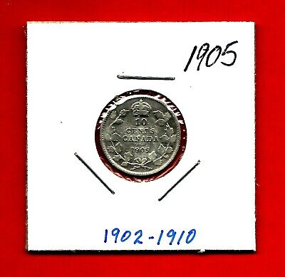 1905 Canada Canadian Silver Dime .925 Silver 10 Cent Coin