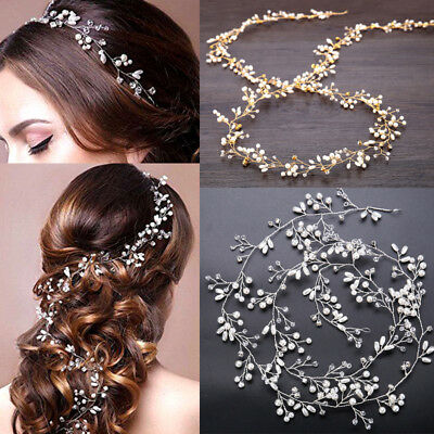 Women Bride Wedding Headwear Crystal Pearl Hair Band Bridal Hair Jewelry Gift US