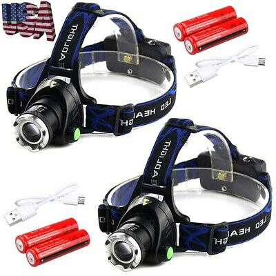 900000Lumen T6 LED Zoomable Headlamp Headlight Head Light USB Rechargeable 18650
