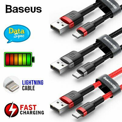 1x2x3x Baseus USB Lightning Charger Cable Data Cord for Apple iPhone 8 X XS iPad