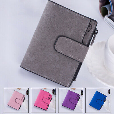 Women Fashion Faux Leather Solid Bifold Wallet Card Holder Handbag Bag Purse