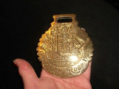 Rare Collectable Genuine Vintage Horse Brass Mary Rose Trust 1982 Solid & Heavy